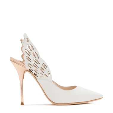 100Mm Angelo Leather Slingback Pumps, White/Rose Gold