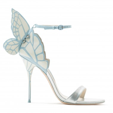 'Evangeline' 3D Glitter Angel Wing Mirror Leather Sandals in Blue
