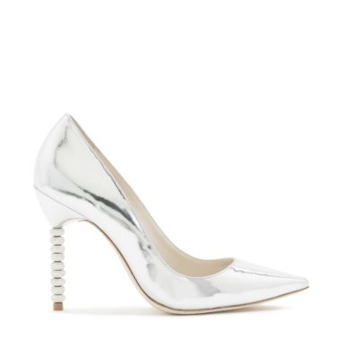 'Coco' Crystal Pavé Bead Heel Mirror Leather Pumps in Metallic