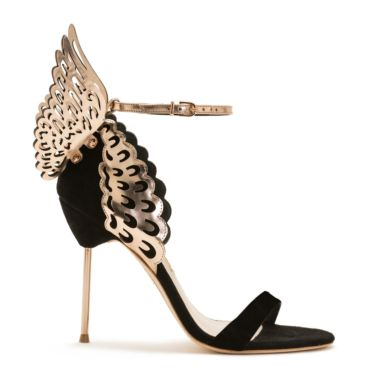 Evangeline Black Rose Suede & Metallic Leather Winged Sandals, Blk/Other