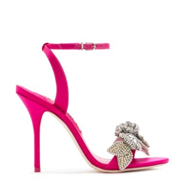 Lilico Crystal-Embellished Leather Sandals, Pink-Silver