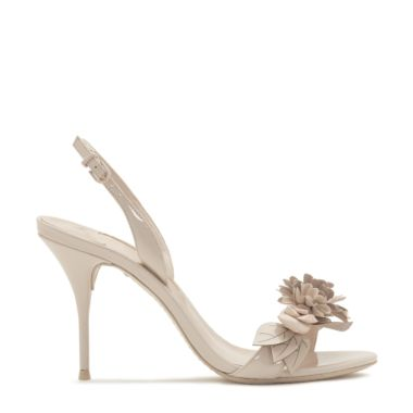 Lilico Appliquéd Patent-Leather Slingback Sandals, Nude