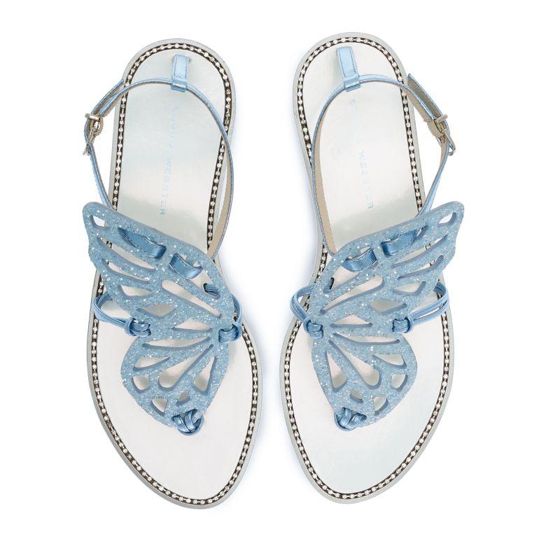 Butterfly Flat Sandal Ice Blue Glitter