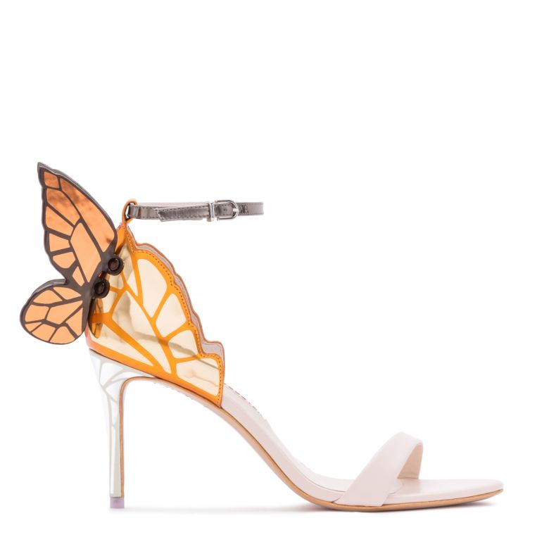 Chiara Mid-Heel Embroidered Butterfly Sandals, Nude