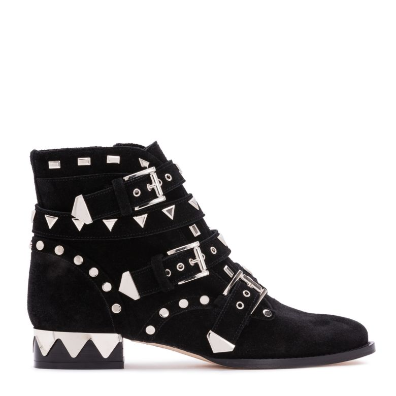 Riko Biker Black Suede Leather Ankle Boots