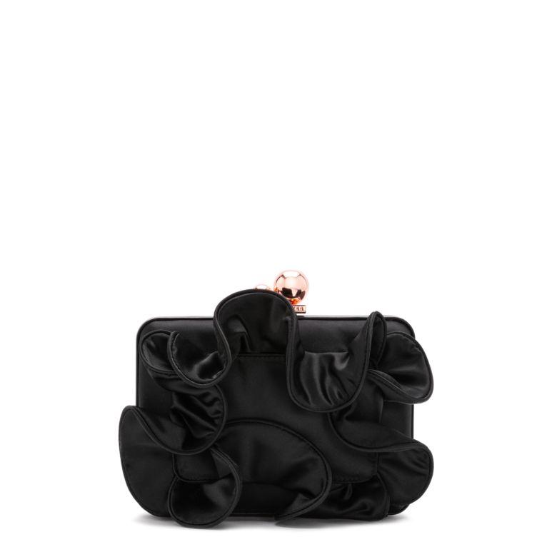 Vivi Black Satin Ruffle Bag